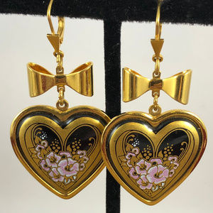 Vintage Enamel Floral Heart Michaela Frey Earrings